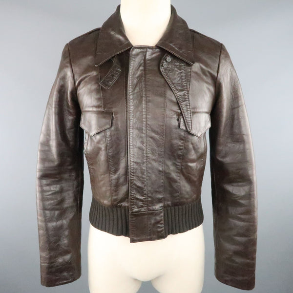 BALENCIAGA Size S Brown Leather Collared Cropped Bomber Jacket