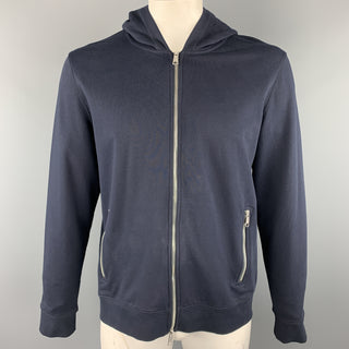 VINCE Navy Solid Cotton Zip Up Chest Size L Jacket