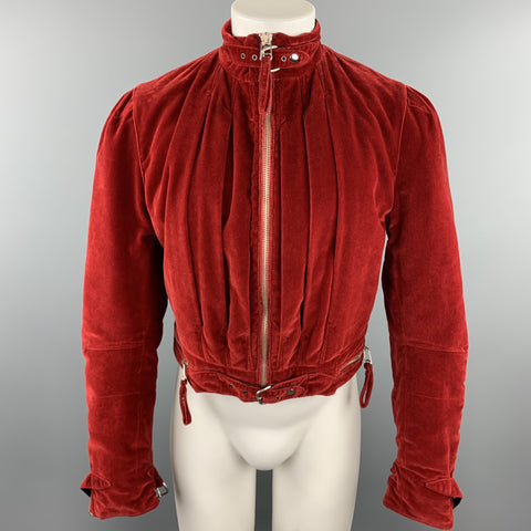 Vintage JEAN PAUL GAULTIER Size 38 Red Velvet Cropped Jacket