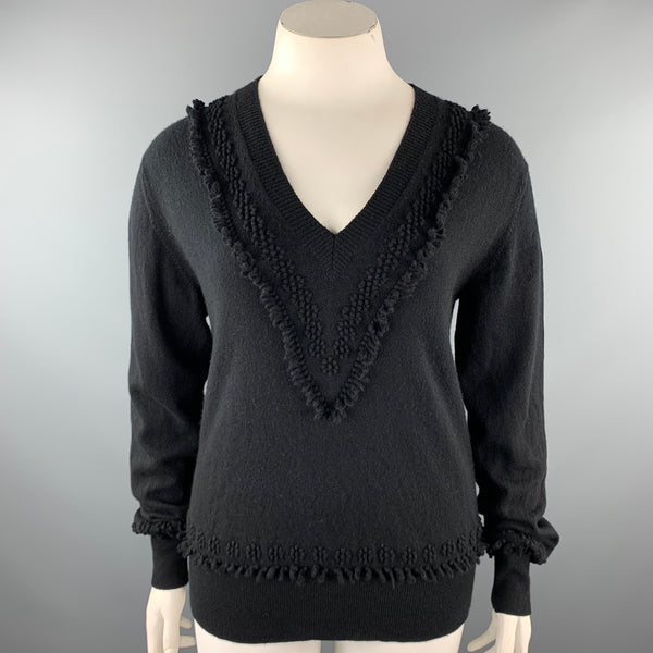 BARRIE Size XL Black Knitted Cashmere V-Neck Sweater