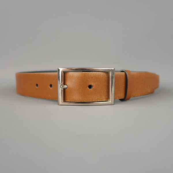 PRADA Tan Leather Silver Rectangle Buckle Belt