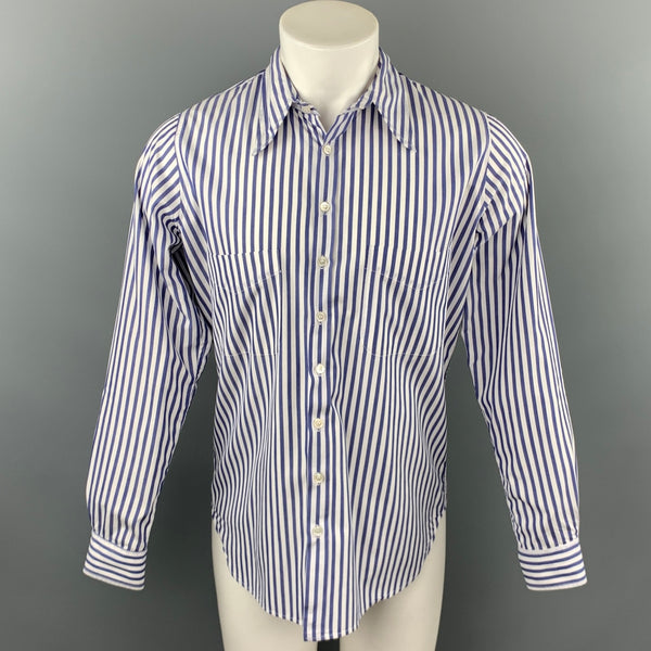 PAUL HARNDEN Size M Blue & White Stripe Cotton Pointed Collar Long Sleeve Shirt