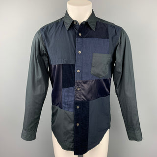 SAGE DE CRET Size S Navy Patchwork Cotton Button Up Long Sleeve Shirt