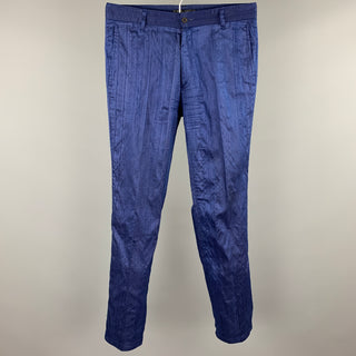 BILLTORNADE Size 32 Blue Textured Silk Zip Fly Casual Pants
