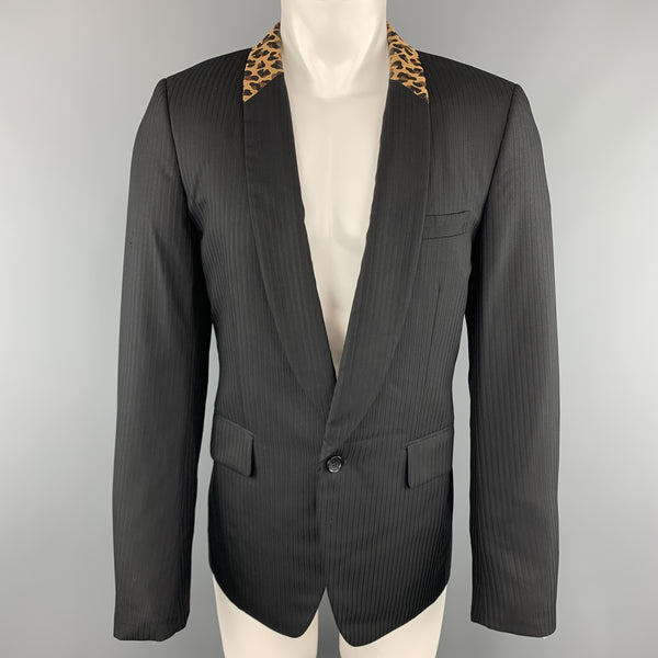 COMME des GARCONS HOMME PLUS M Black Leopard Trim Shawl Collar Sport Coat