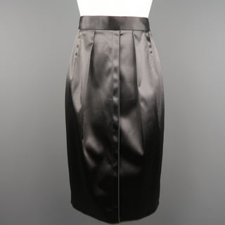 DOLCE & GABBANA Size 4 Gray Stretch Satin Darted Pencil Skirt