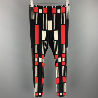 ALEXANDER MCQUEEN Size L Black & Red Polyamide / Eastane Leggings