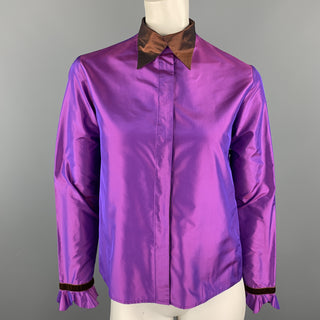 ETRO Size 4 Purple & Brown Silk Taffeta Blouse