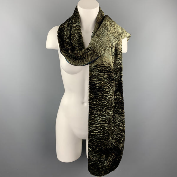 LIBERTY OF LONDON Mixed Fabrics Olive Acetate Blend Faux Fur Shawl