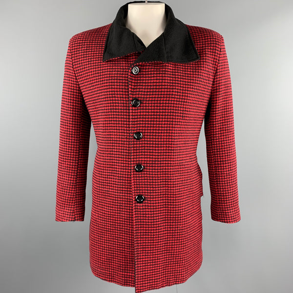 ZunePoar Size XXL Red & Black Houndstooth Cotton Peacoat