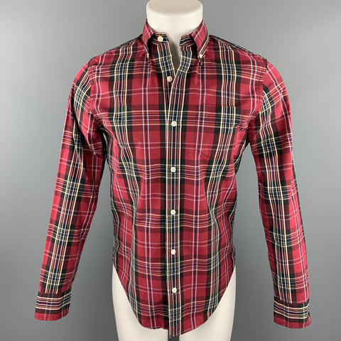 CLUB MONACO Size XS Red Plaid Cotton Button Up Long Sleeve Shirt