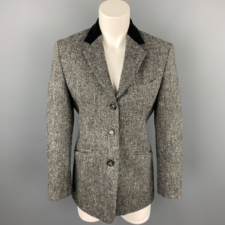 MAX MARA Size 6 Grey Tweed Herringbone Wool Notch Lapel Jacket