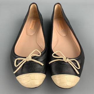 REED KRAKOFF Size 7.5 Black & Beige Two Tone Leather Cap Toe Flats