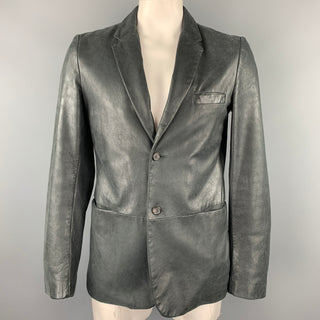 JIL SANDER Size 44 Charcoal Distressed Leather Notch Lapel Jacket
