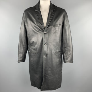 YOHJI YAMAMOTO POUR HOMME Size M Black Solid Leather Notch Lapel Coat