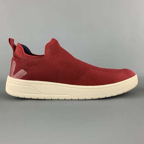 VEJA Size 10 Burgundy Woven Knit AQUASHOW V KNIT Slip On Sneakers