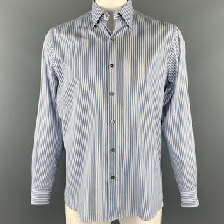 ERMENEGILDO ZEGNA Size L Blue & White Stripe Cotton Button Up Long Sleeve Shirt