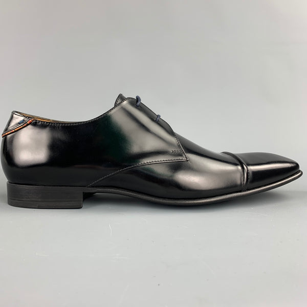 PAUL SMITH Size 12 Black Leather Cap Toe Lace Up Dress Shoes