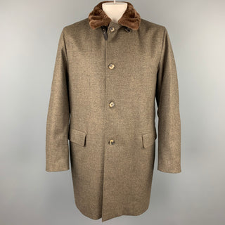 LORO PIANA Storm System Size 46 Taupe Heather Wool / Cashmere Fur Collar Coat