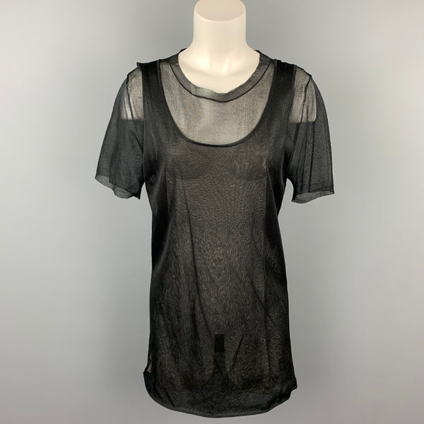 MARNI Size 6 Black See Through Silk Layered Tank Casual Top