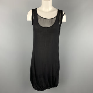 HELMUT LANG Size 2 Black Silk & Wool Layered Tank Bubble Dress