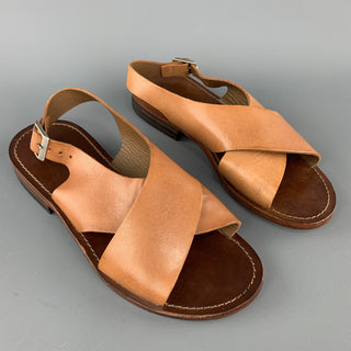 CLOSED Size 6 Tan Cross Strap Flat Sandals
