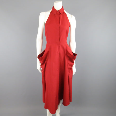 DONNA KARAN Size 4 Red Cotton Halter Top A Lline Shirt Dress