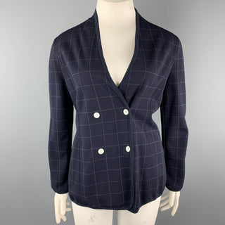 GIORGIO ARMANI Size 12 Navy Windowpane Double Breasted Cardigan Jacket