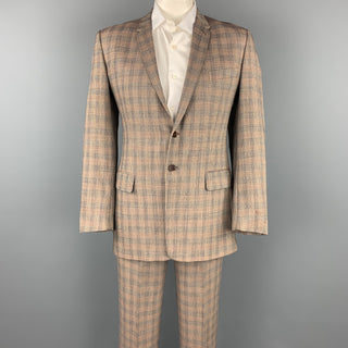 PAUL SMITH Size 40 Taupe Glenplaid Wool Notch Lapel Suit