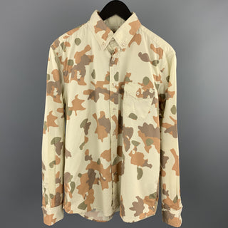STEVEN ALAN Size M Cream Camouflage Cotton Button Down Long Sleeve Shirt