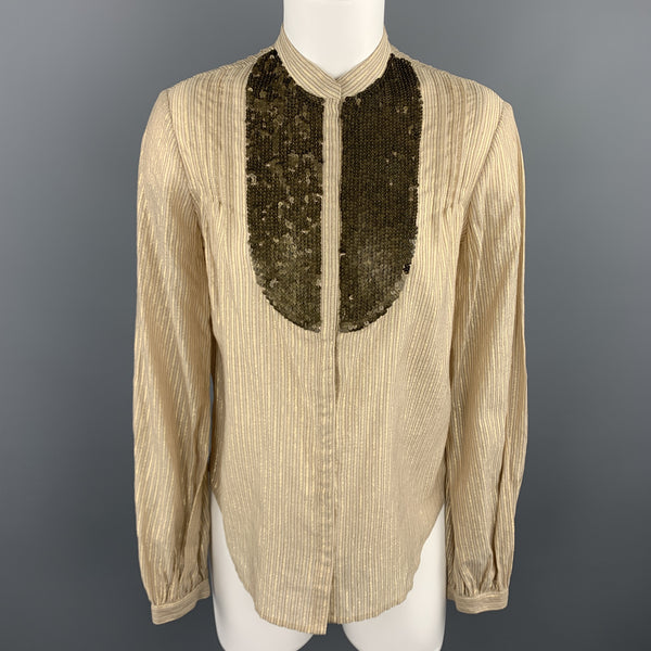 3.1 PHILLIP LIM Size 4 Gold Metallic Striped Sequin Bib Blouse