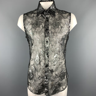 Vintage GIANNI VERSACE Size XXL Silver & Black Lace Silk Blend Button Up Sleeveless