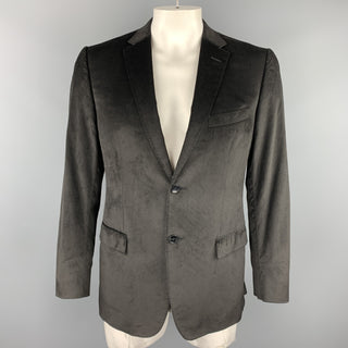 Z ZEGNA Size 40 Black Velvet Notch Lapel Sport Coat