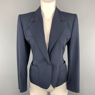 YVES SAINT LAURENT Size 6 Navy Virgin Wool Cropped Sport Jacket
