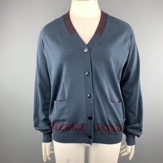 JIL SANDER Size 12 Navy & Plum Color Block Cashmere Blend Cardigan