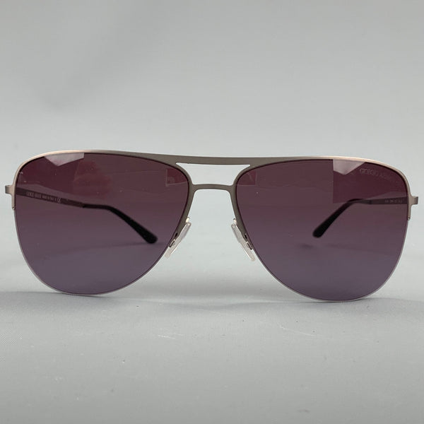 GIORGIO ARMANI Grey Metal Aviator Sunglasses