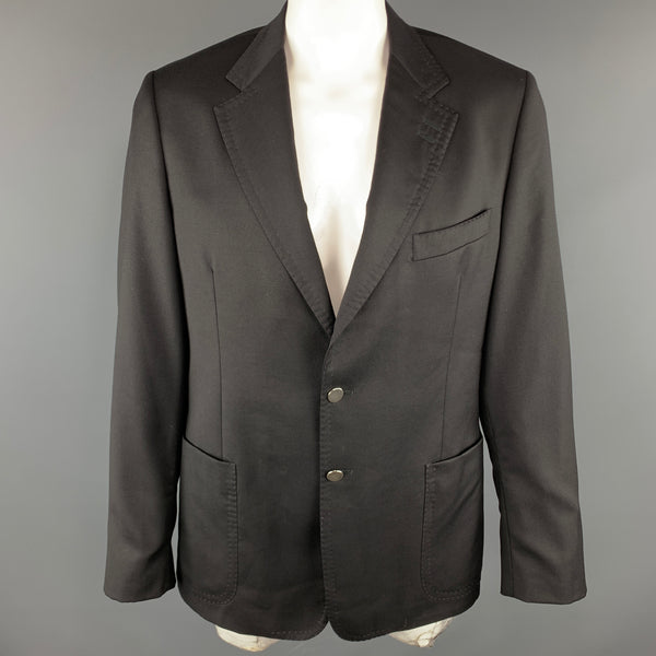 PAUL SMITH Size 44 Black Wool / Cashmere Notch Lapel Stitches Sport Coat