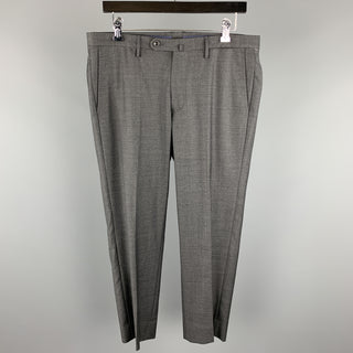 INCOTEX Size 33 Gray Solid Wool 25 Flat Front Dress Pants