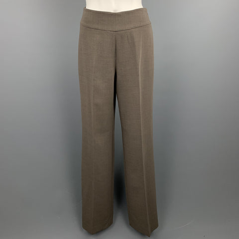 AKRIS Size 4 Olive Wool / Nylon High Waisted Wide Leg Dress Pants
