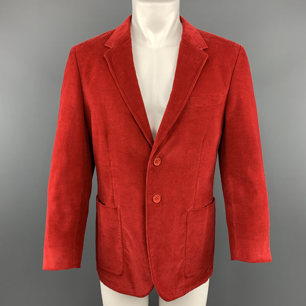 PS by PAUL SMITH Size 40 Red Corduroy Notch Lapel Single Breasted 2 Button Sport Coat