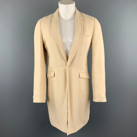 COMME des GARCONS HOMME PLUS Size S Beige Woven Hemp Notch Lapel Coat