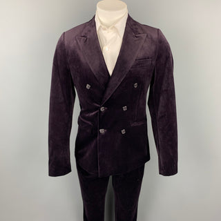 FERAUD Size 38 Purple Polyester Peak Lapel Double Breasted Suit