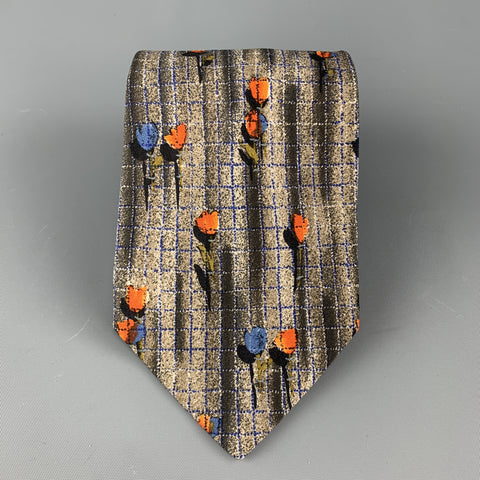 ERMENEGILDO ZEGNA Gray Silk Blue & Orange Flower Tie