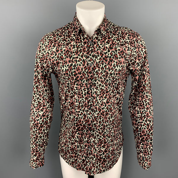 JUST CAVALLI Size S Black & Burgundy Animal Cotton Print Button Up Long Sleeve Shirt