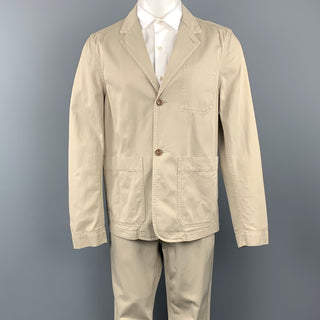 MARGARET HOWELL Size 40 Short Khaki Cotton Notch Lapel Suit