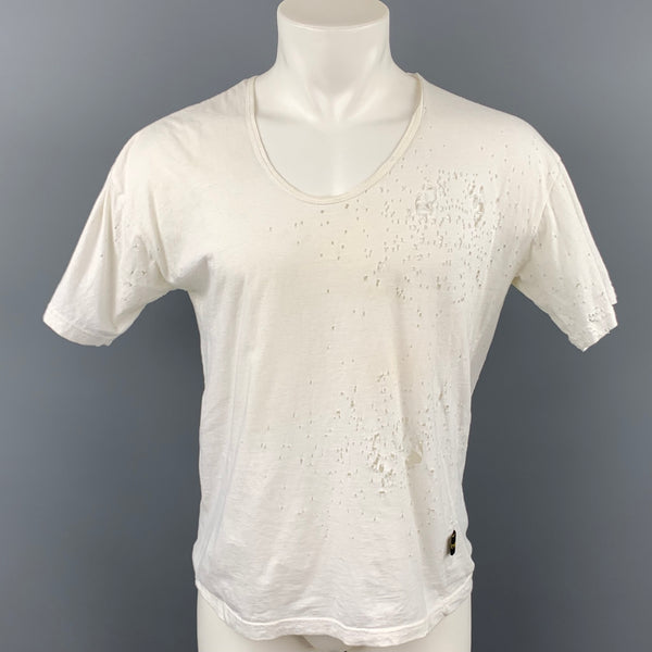 ROBERT CARY-WILLIAMS Size L White Distressed Cotton Short Sleeve T-shirt