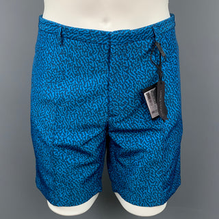 CALVIN KLEIN COLLECTION Size 36 Blue & Navy Abstract Polyester Zip Fly Shorts