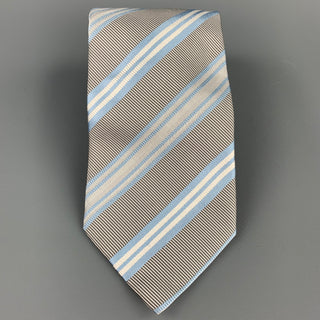 ERMENEGILDO ZEGNA Gray & Light Blue Diagonal Stripe Silk / Cotton Tie