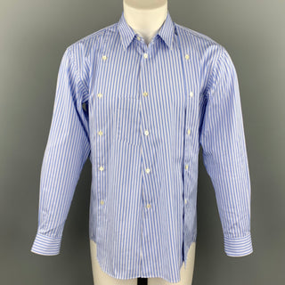 COMME des GARCONS SHIRT Size M Blue Stripe Cotton Button Up Long Sleeve Shirt