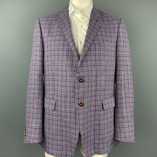 ETRO Size 48 Blue & Red Plaid Hemp Blend Notch Lapel Sport Coat